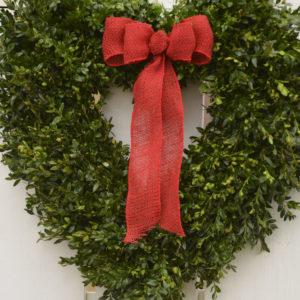 "30"" heart-shaped fresh boxwood wreath"